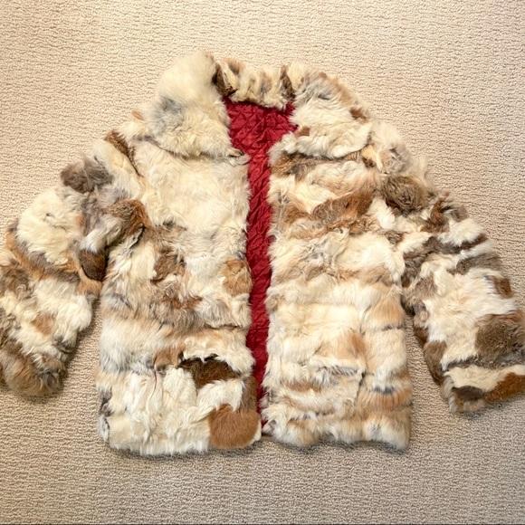 Vintage Jackets & Blazers - Vintage Genuine Rabbit Fur Coat Brown White Jacket